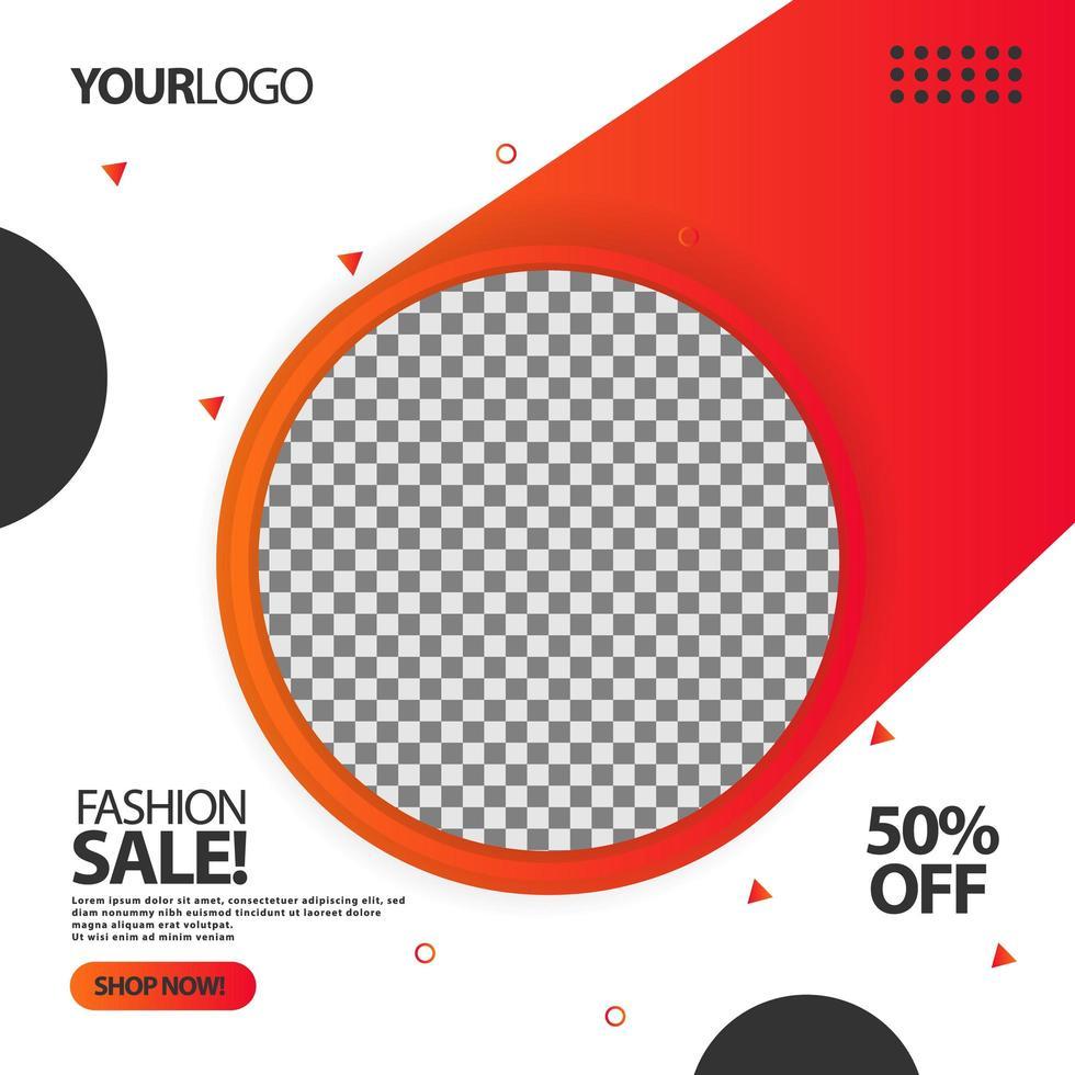 '' fashion sale '' vloeiende cirkel sociale media post banner vector