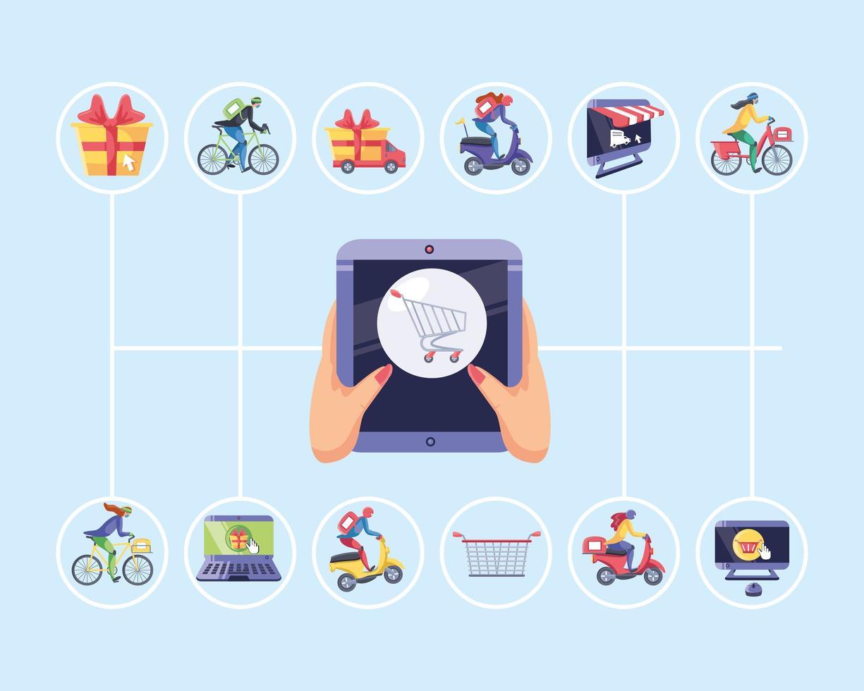 conjunto de iconos de compras en línea vector