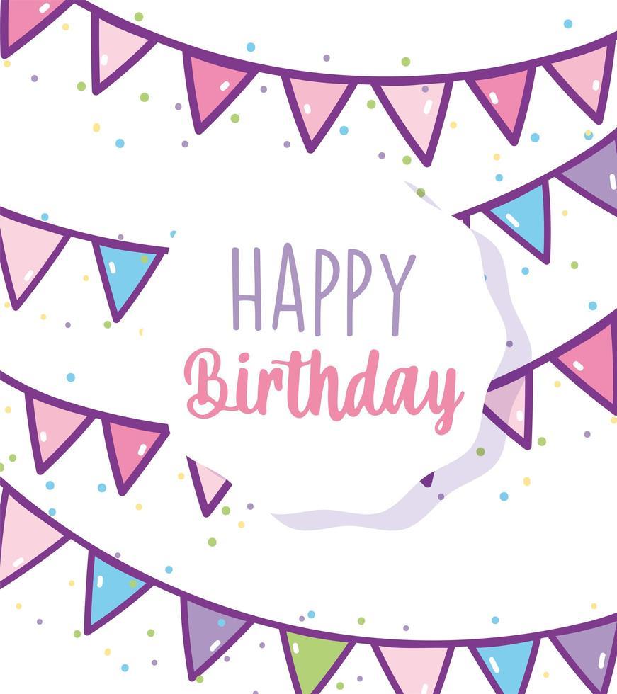 cartão de aniversário com guirlanda festiva vetor
