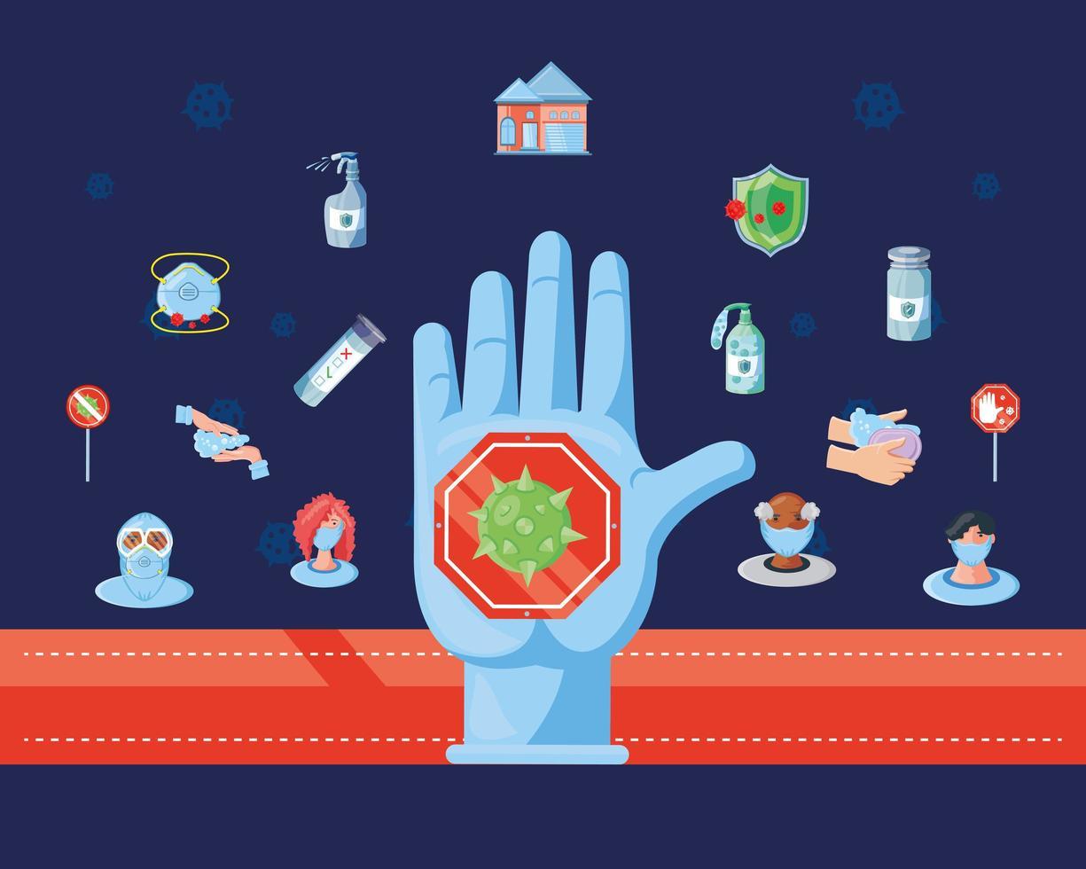 arrêter la main avec un ensemble d'icônes de prévention des coronavirus vecteur