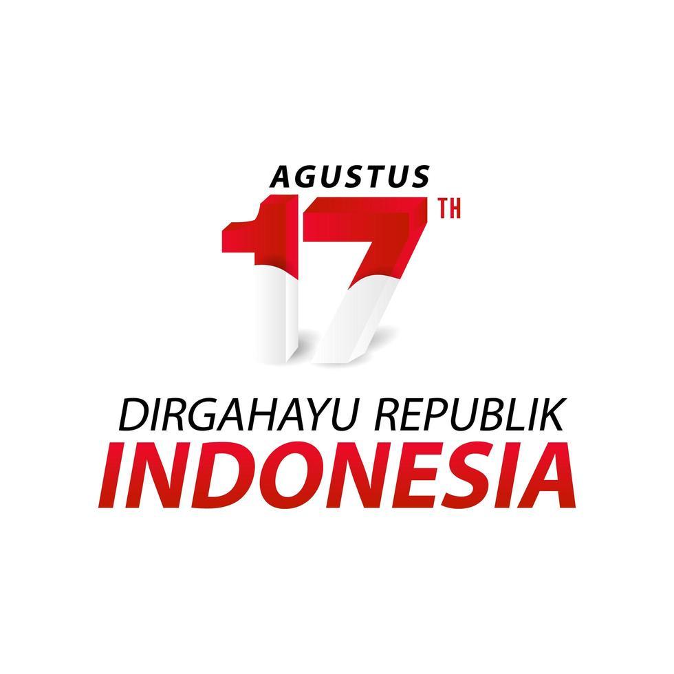 bonne bannière de la fête de l'indépendance de l'indonésie vecteur
