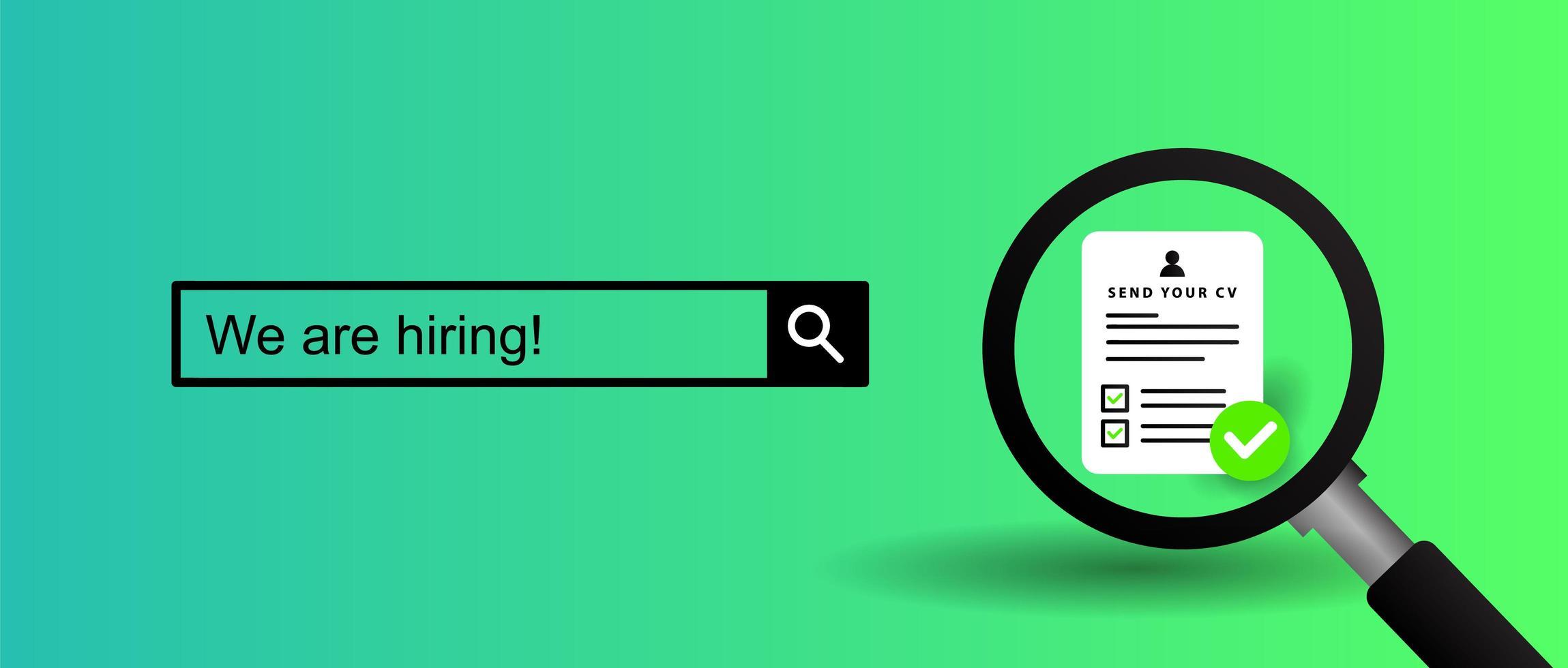 bannière moderne `` nous embauchons '' pour le recrutement d'entreprises vecteur