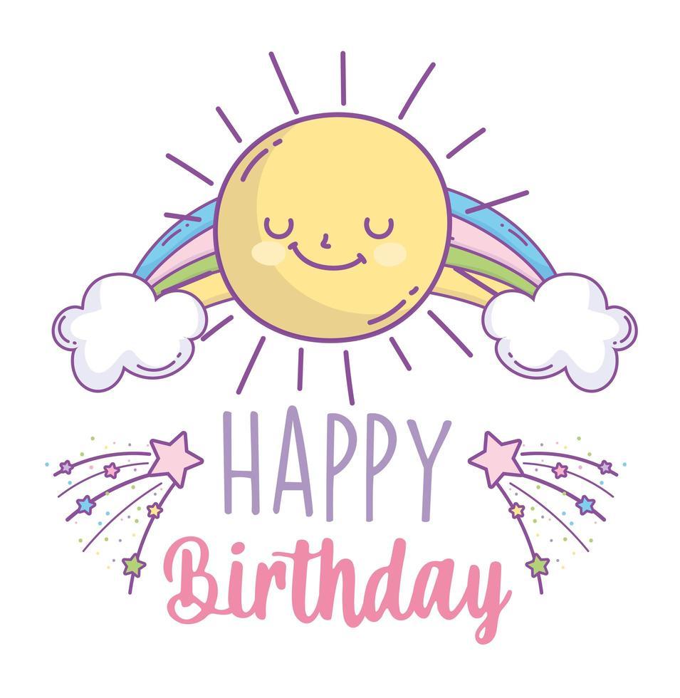 carte de joyeux anniversaire avec soleil et arc en ciel vecteur