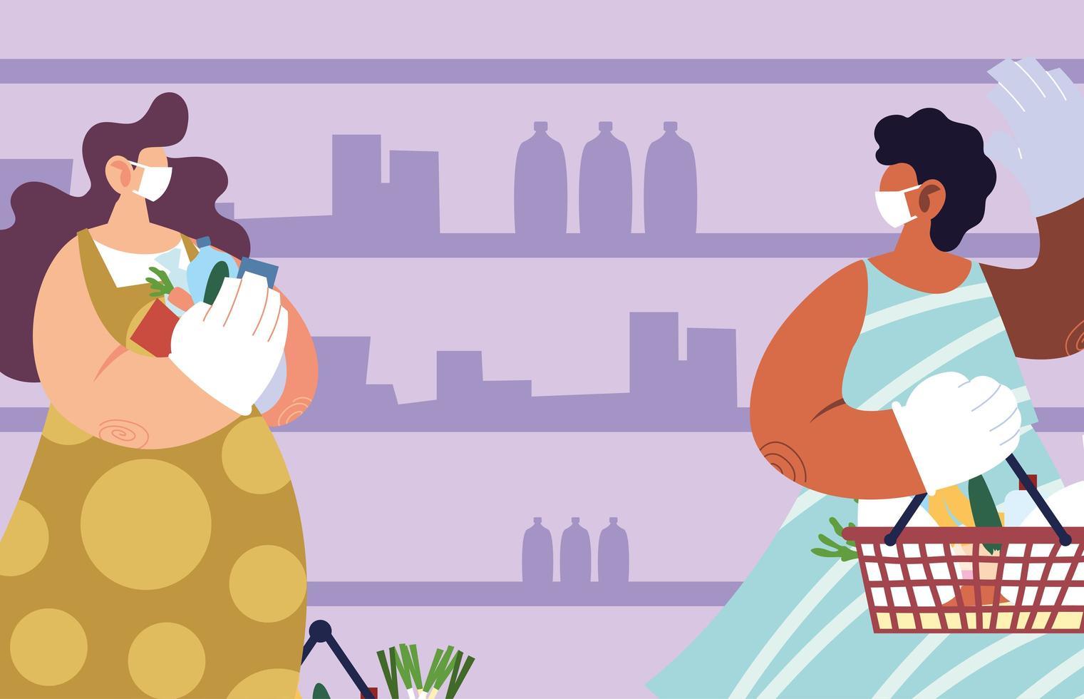 femmes utilisant un masque médical et des gants au supermarché vecteur
