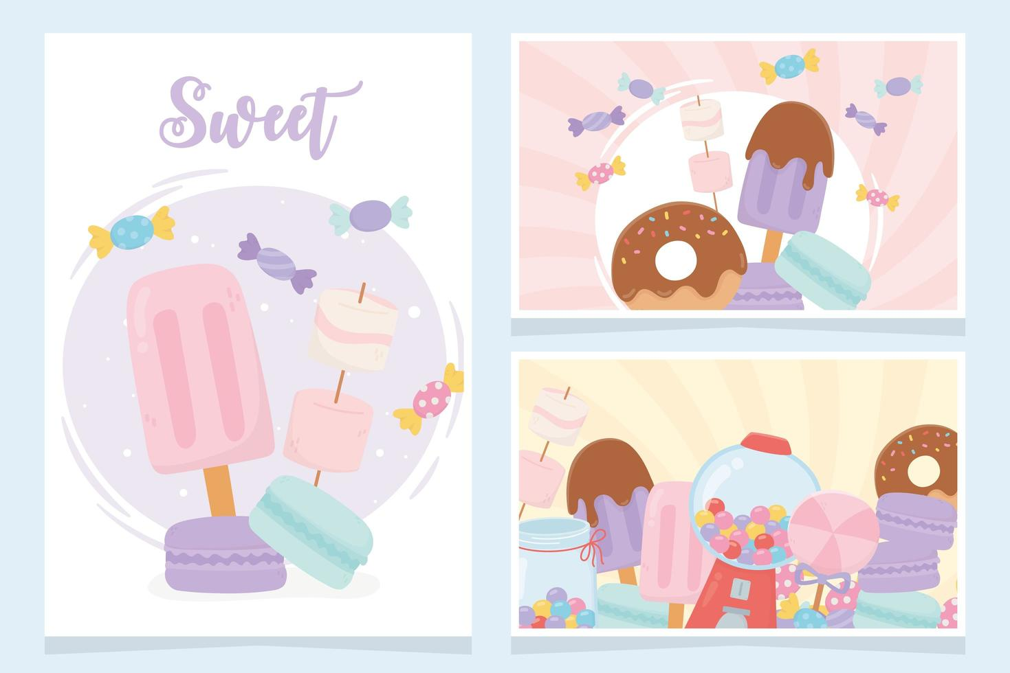 Sweet snacks, candies and desserts cards set vector