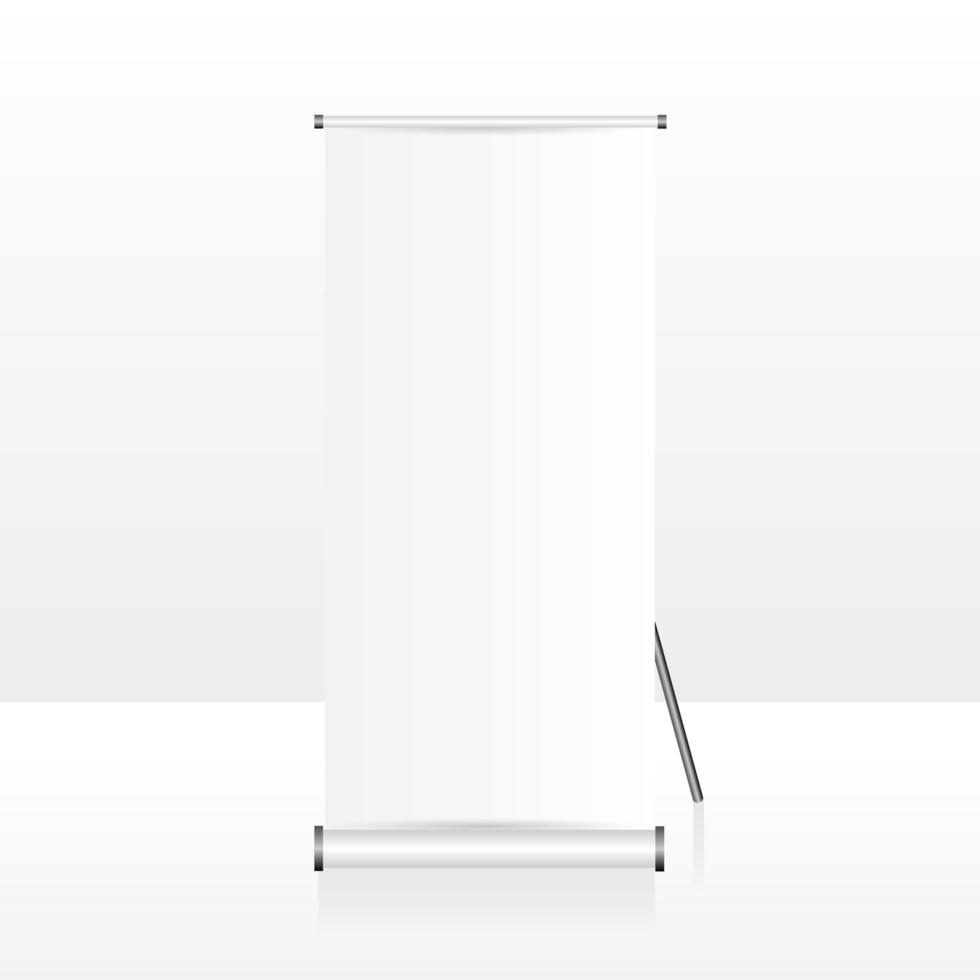 banner roll-up vazio e em branco realista vetor
