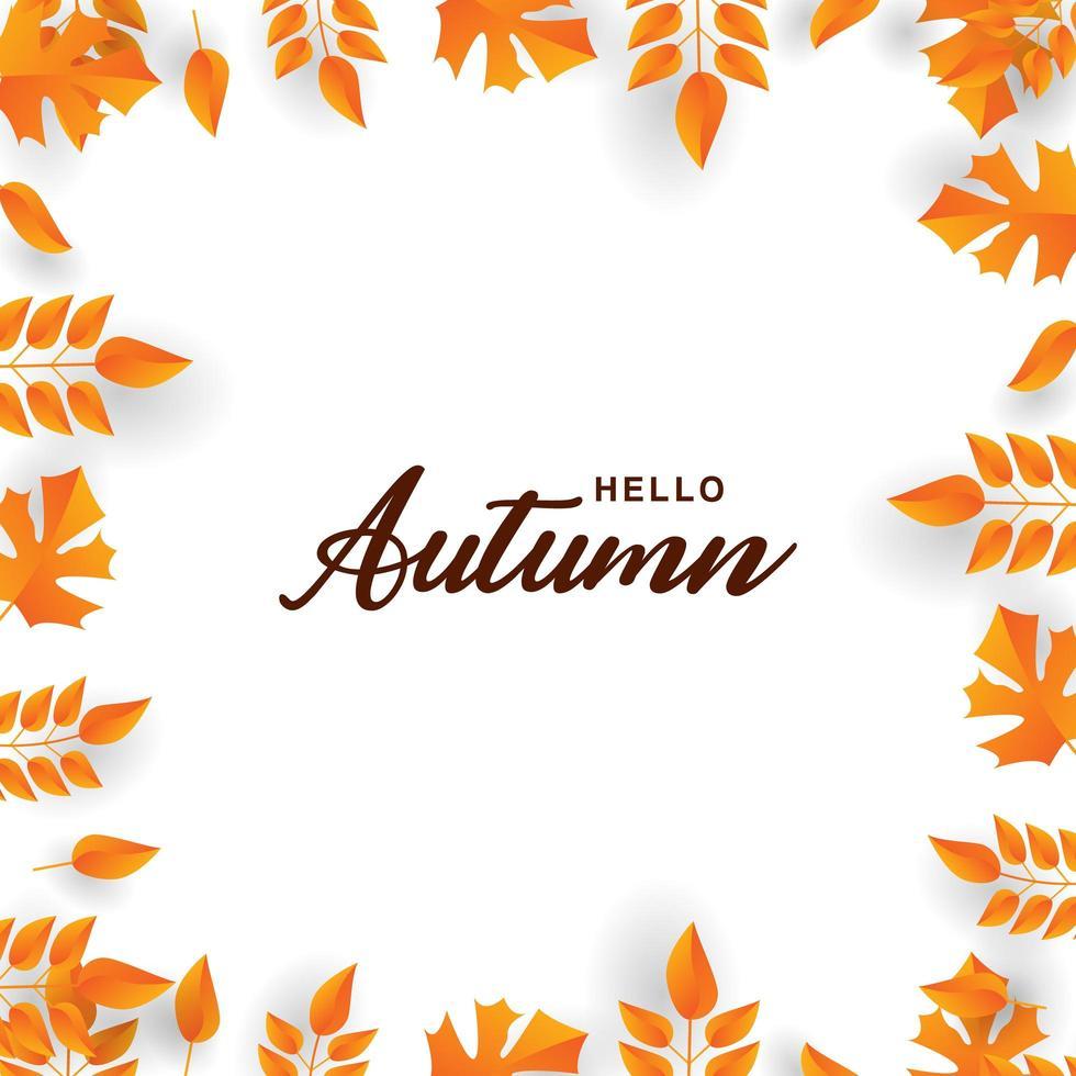 bordure `` bonjour automne '' et cadre feuille orange vecteur