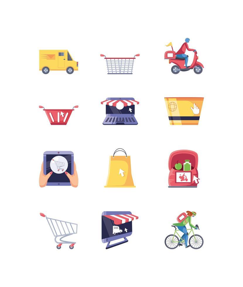 ensemble d & # 39; icônes d & # 39; achats en ligne vecteur