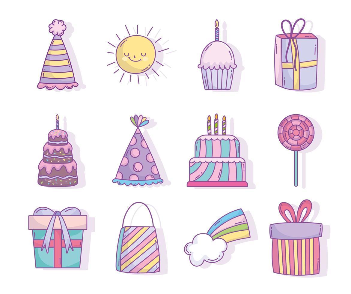 icone assortite festa di compleanno celebrazione vettore