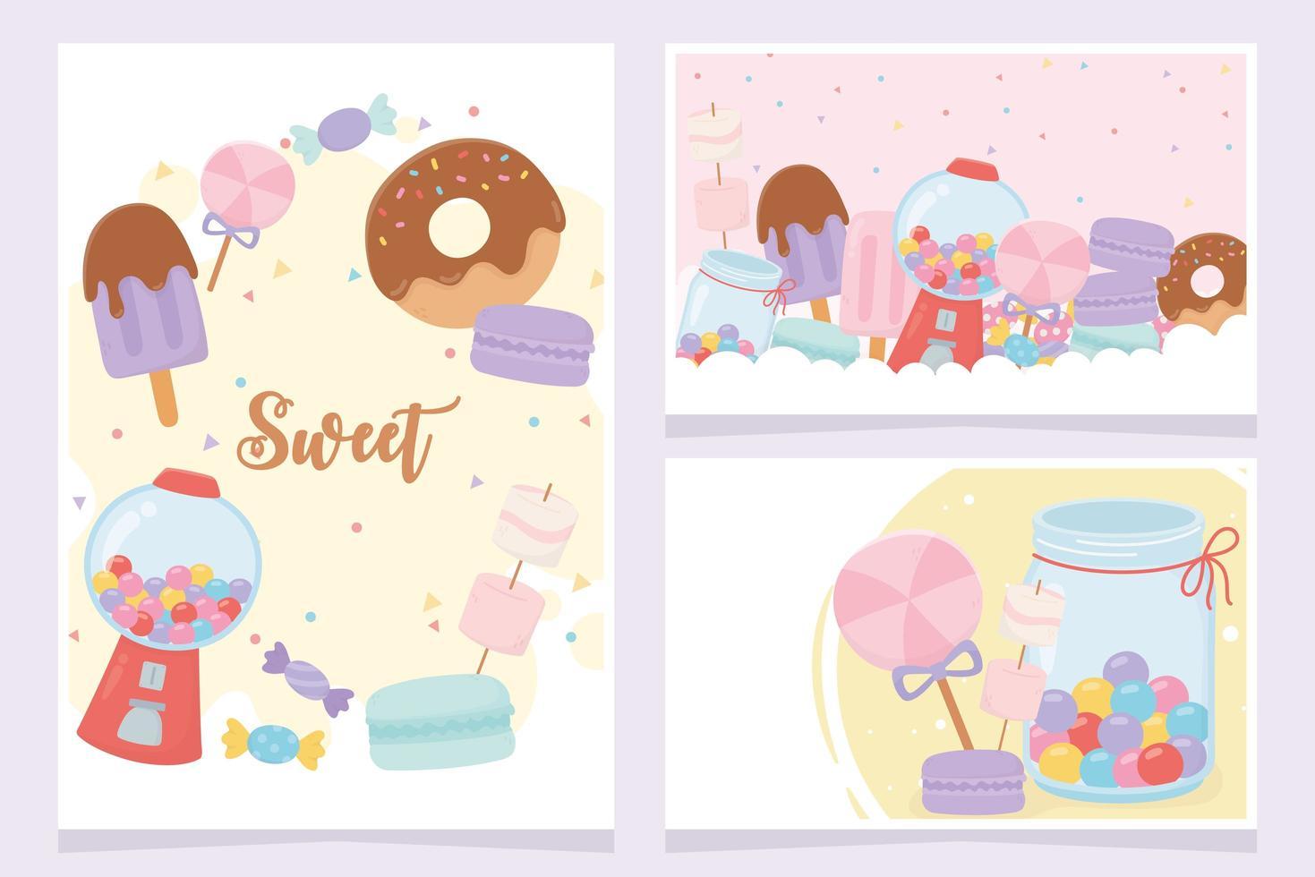 zoete snoepjes en desserts kaarten set vector
