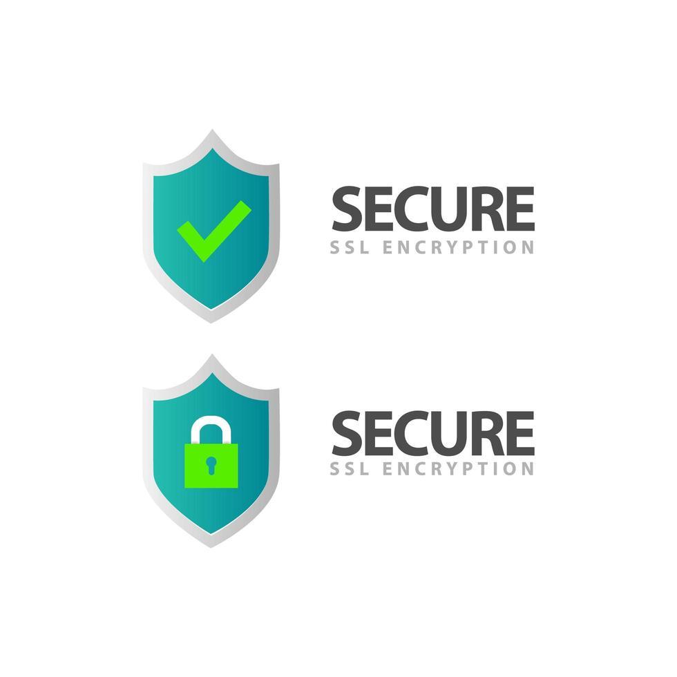 certificat ssl et logo de symbole de bouclier de cryptage sécurisé vecteur