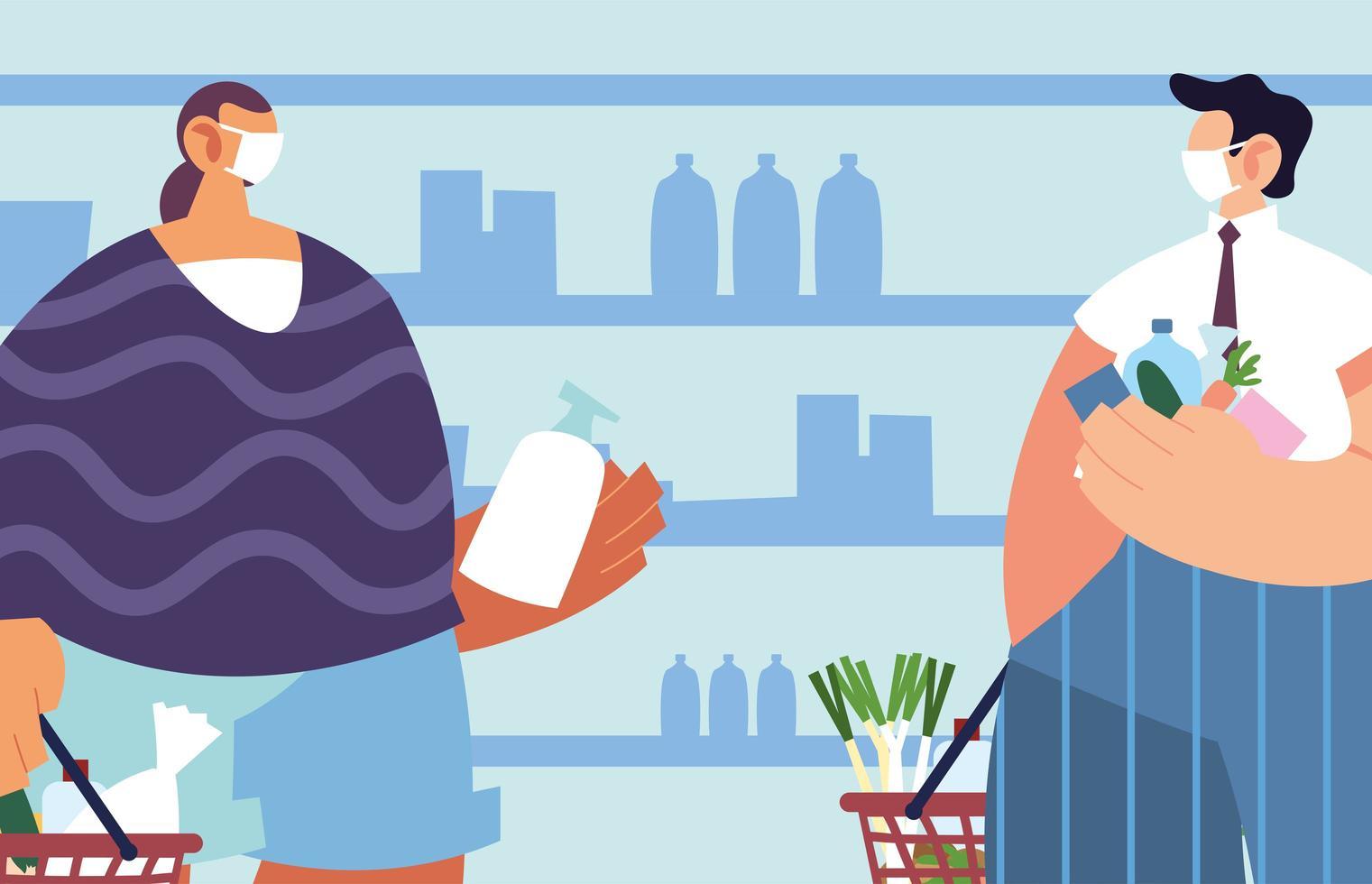 hommes avec masque médical dans le supermarché avec précautions par coronavirus vecteur