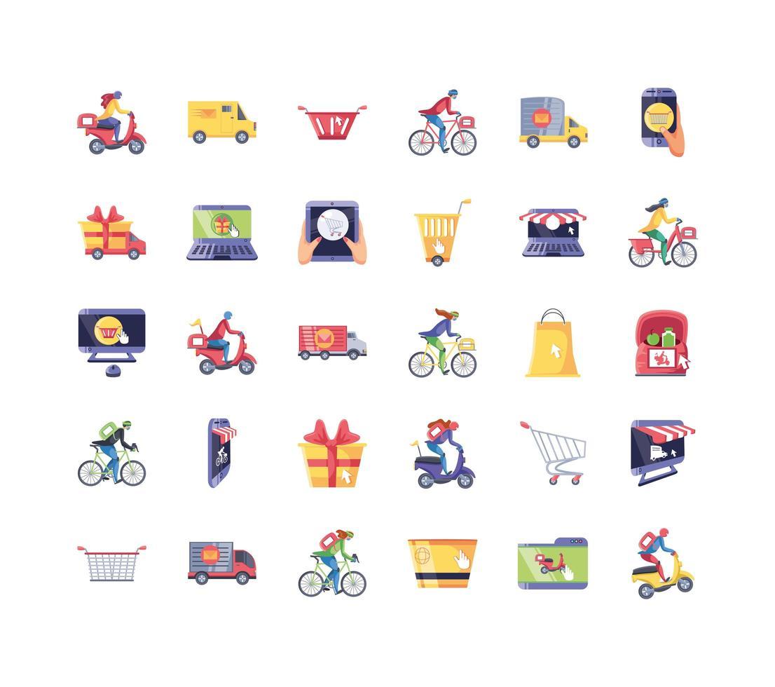 ensemble d'icônes de shopping en ligne vecteur