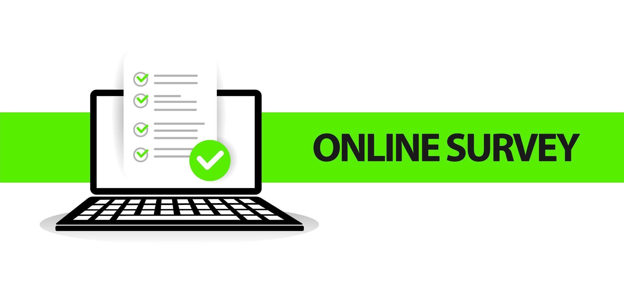 papier de bannière d'enquête en ligne sur écran d'ordinateur portable vecteur