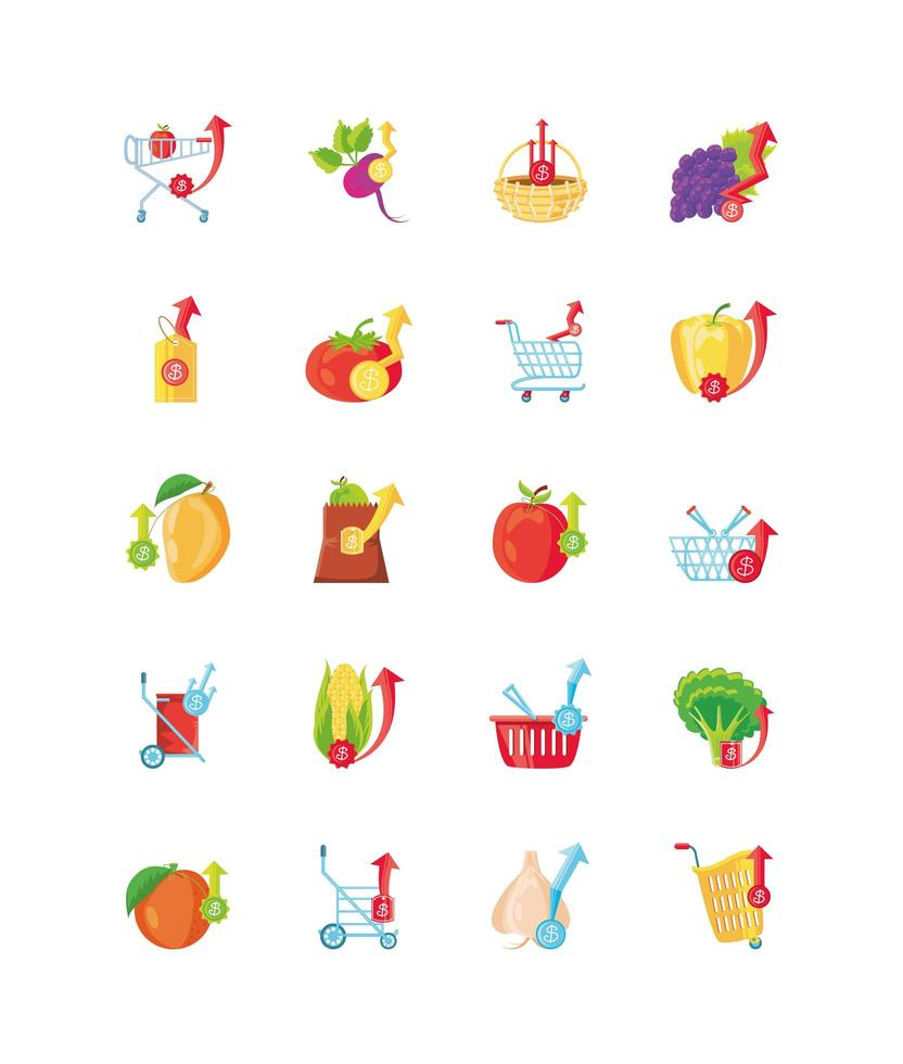 conjunto de iconos con el aumento de los precios de los alimentos vector
