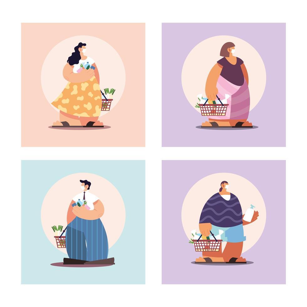 quatre personnes au supermarché en distanciation sociale vecteur