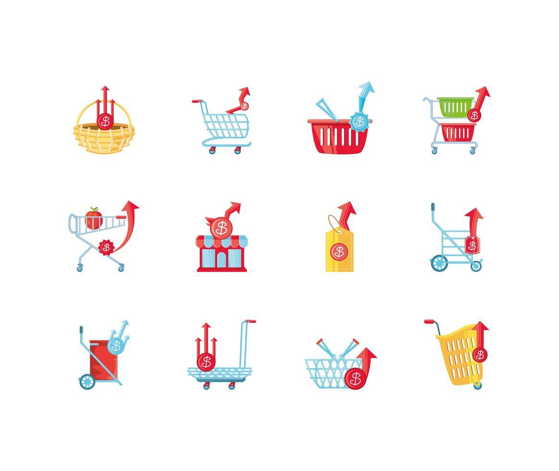 iconen set van stijgende voedselprijzen vector