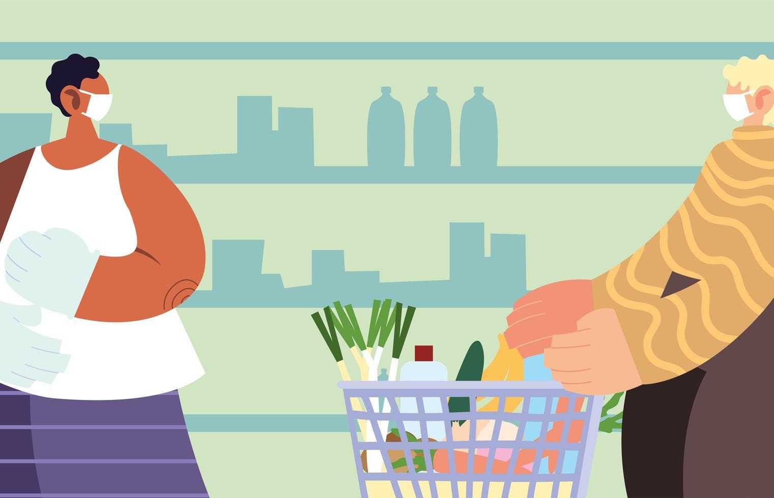 hommes utilisant un masque médical dans le supermarché avec des précautions par coronavirus vecteur