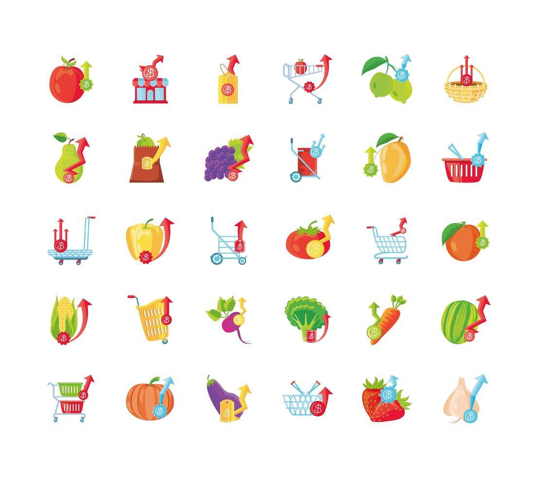 conjunto de ícones de preços de alimentos vetor