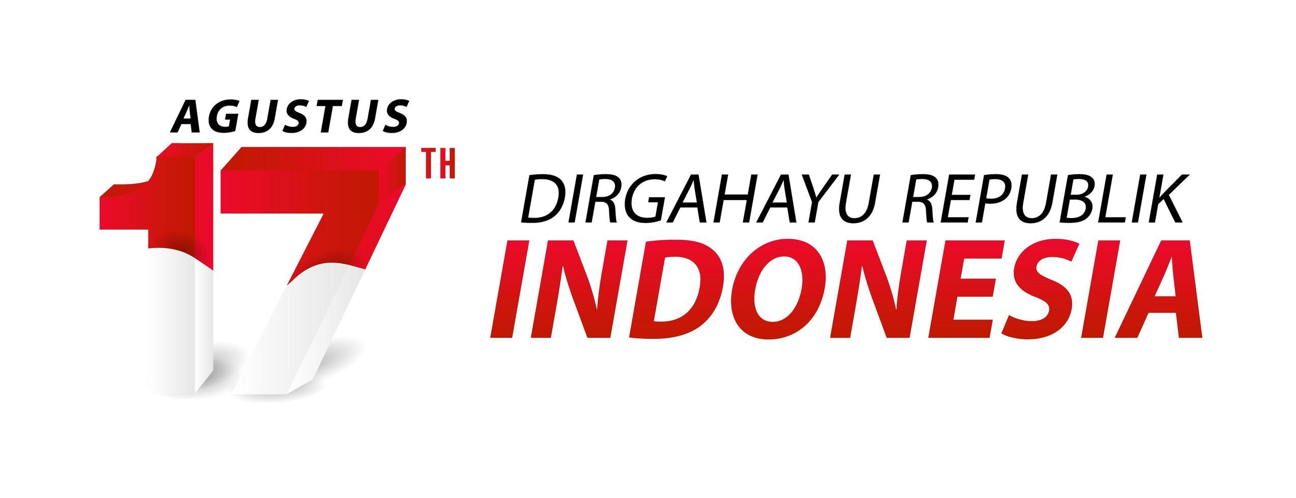 feliz día de la independencia de indonesia banner y tarjeta de felicitación vector