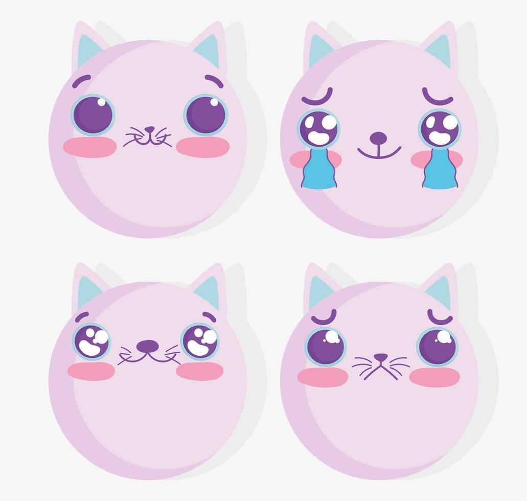 conjunto de emoji de gato kawaii vector