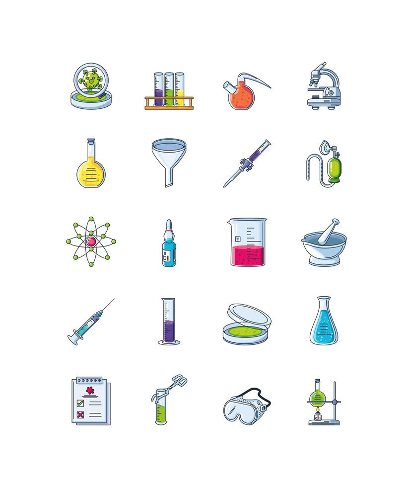 Icons set of laboratory research vector