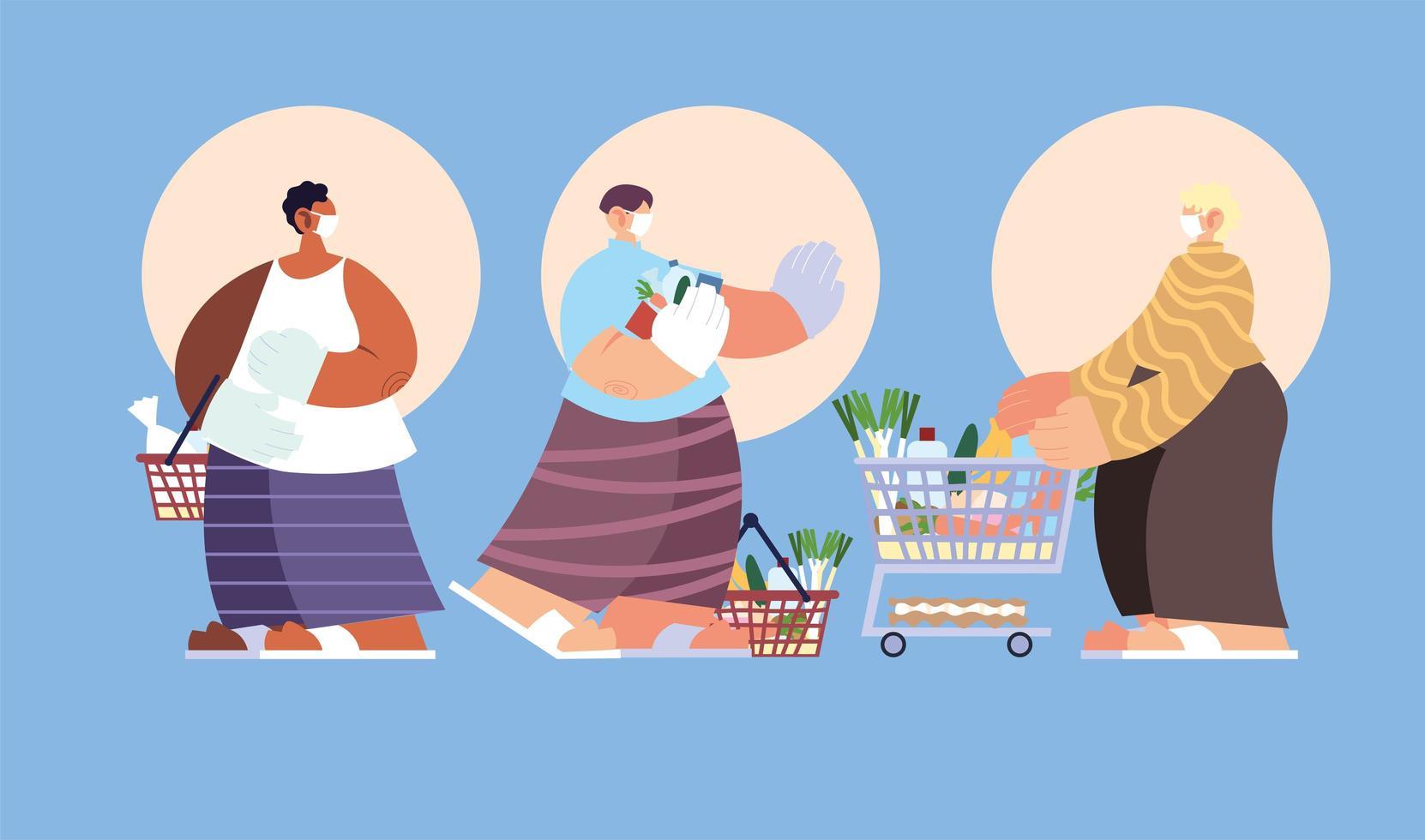 tres personas en el supermercado vector