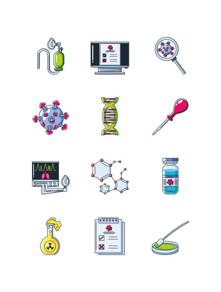 ensemble d & # 39; icônes de recherche en laboratoire vecteur