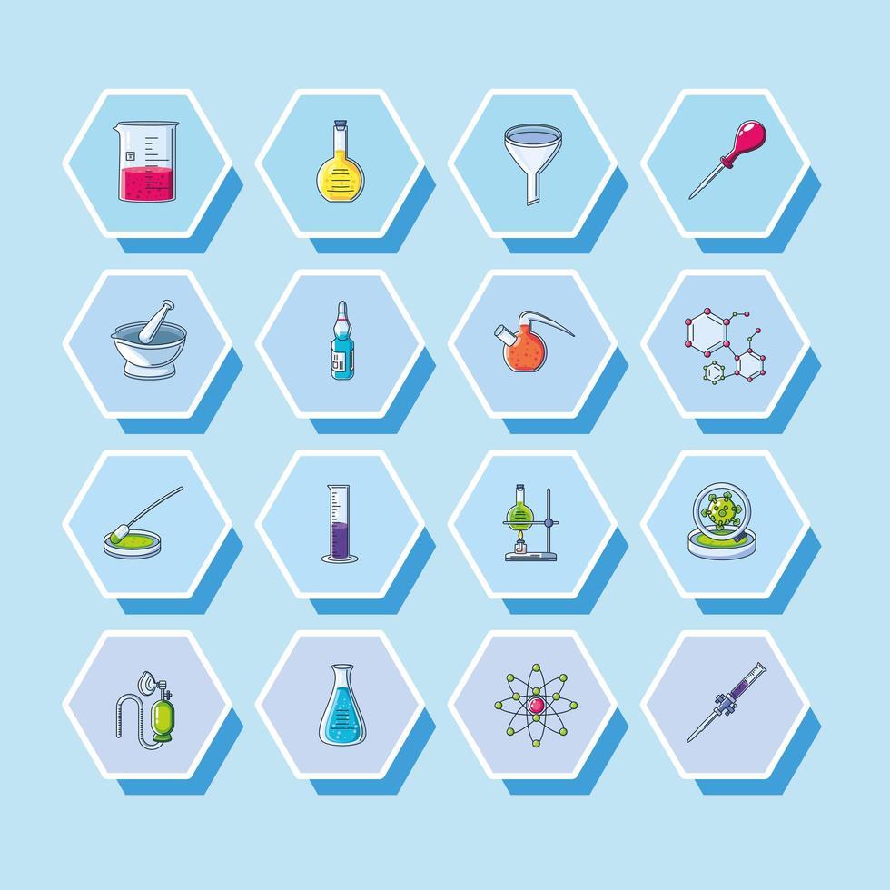 conjunto de iconos de laboratorio vector