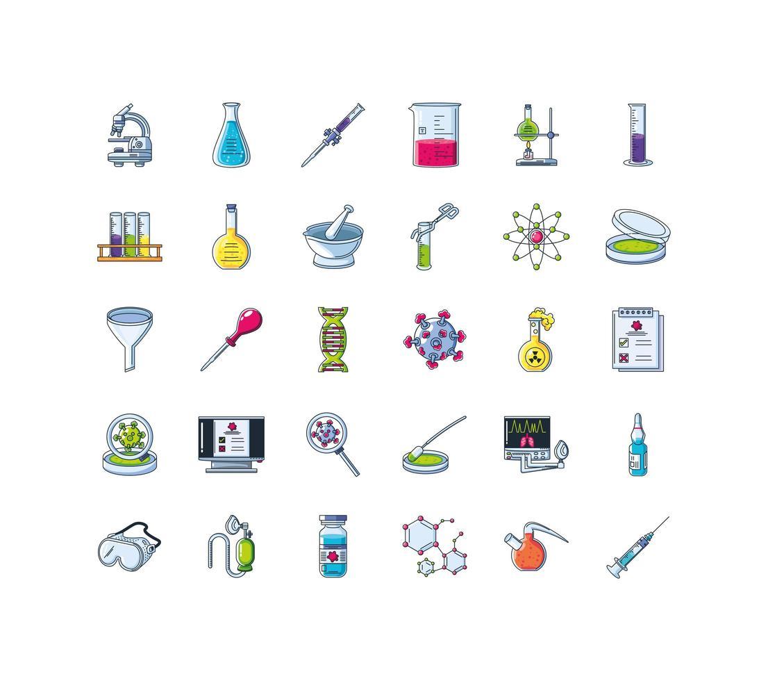 conjunto de iconos de investigación de laboratorio vector