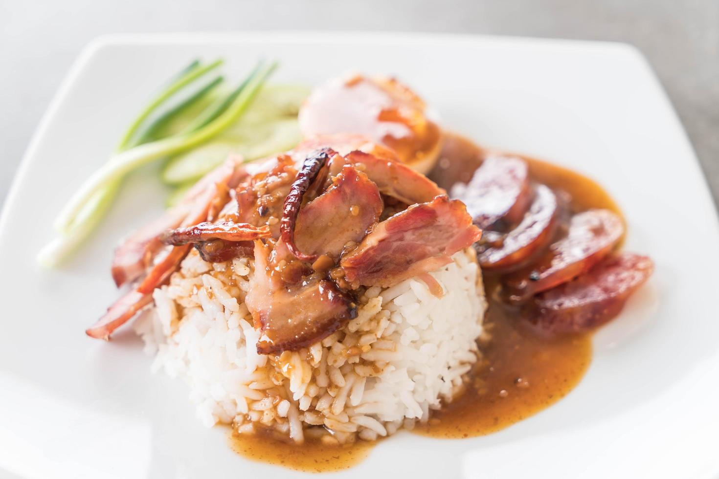 Barbecued red pork with rice photo