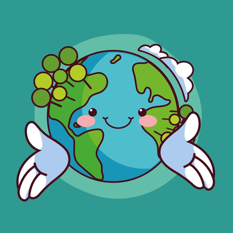 monde kawaii planète terre souriant vecteur