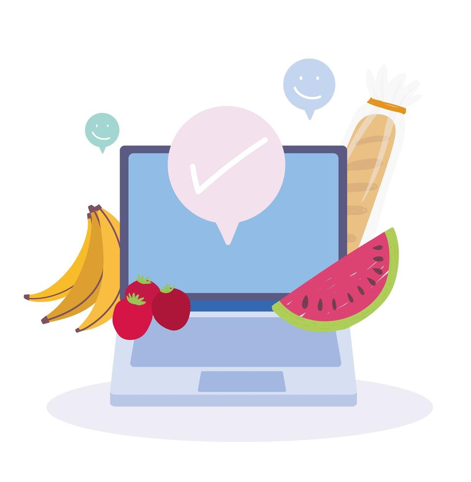 Laptop with fruits and bread vector