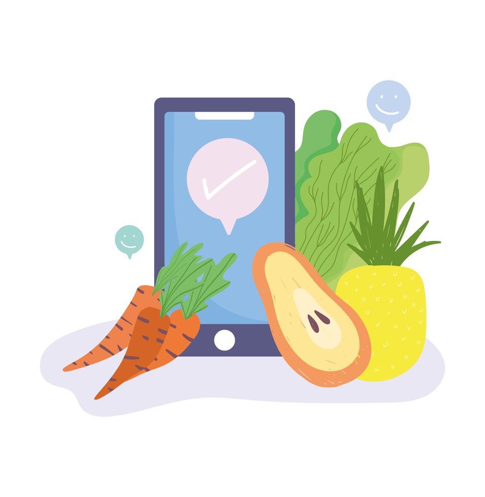 smartphone et légumes vecteur