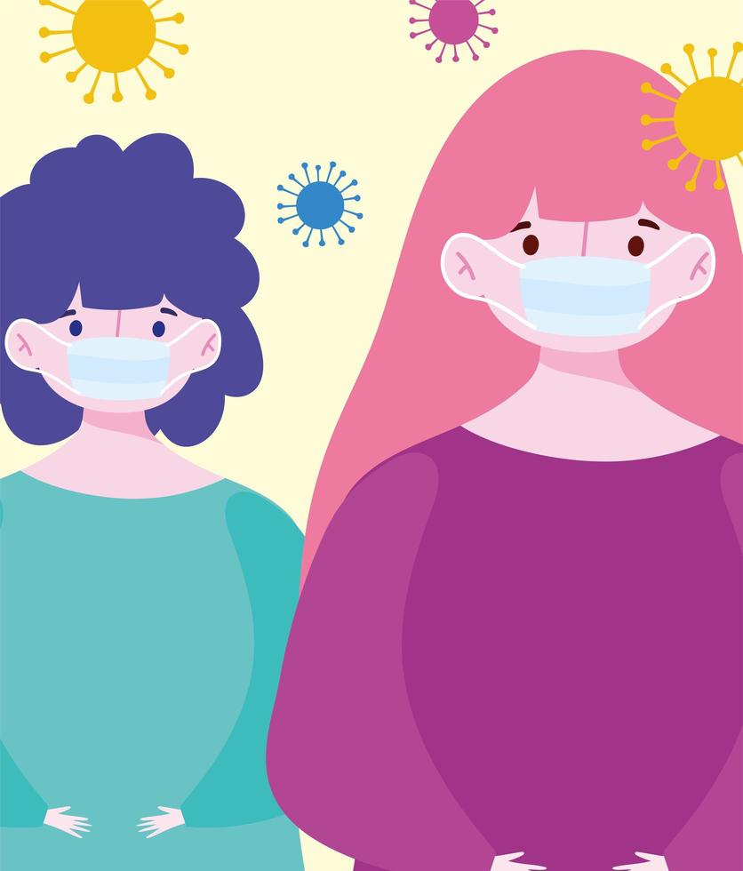 Young women wearing medical masks  vector