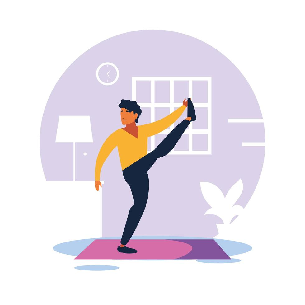 Man doing his exercises at home vector