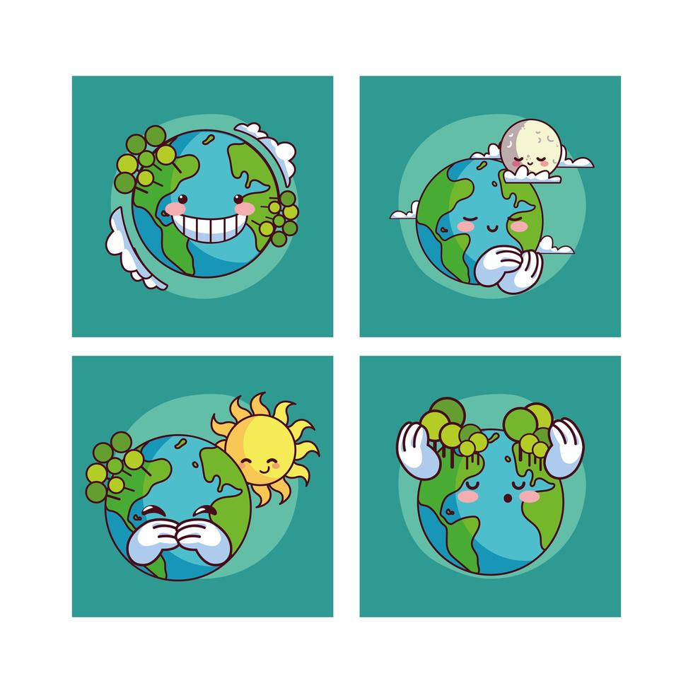 quatre kawaii souriant planète terre vecteur