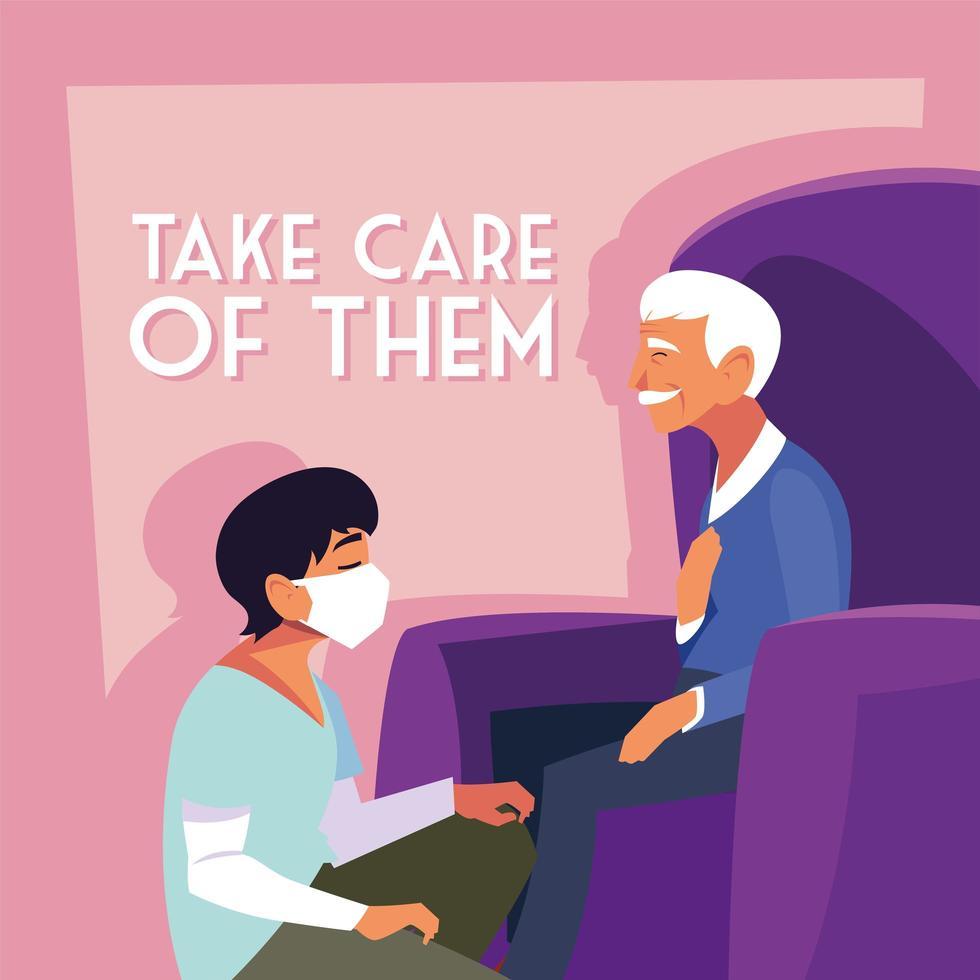 homme portant un masque médical et prenant soin d'un vieil homme vecteur