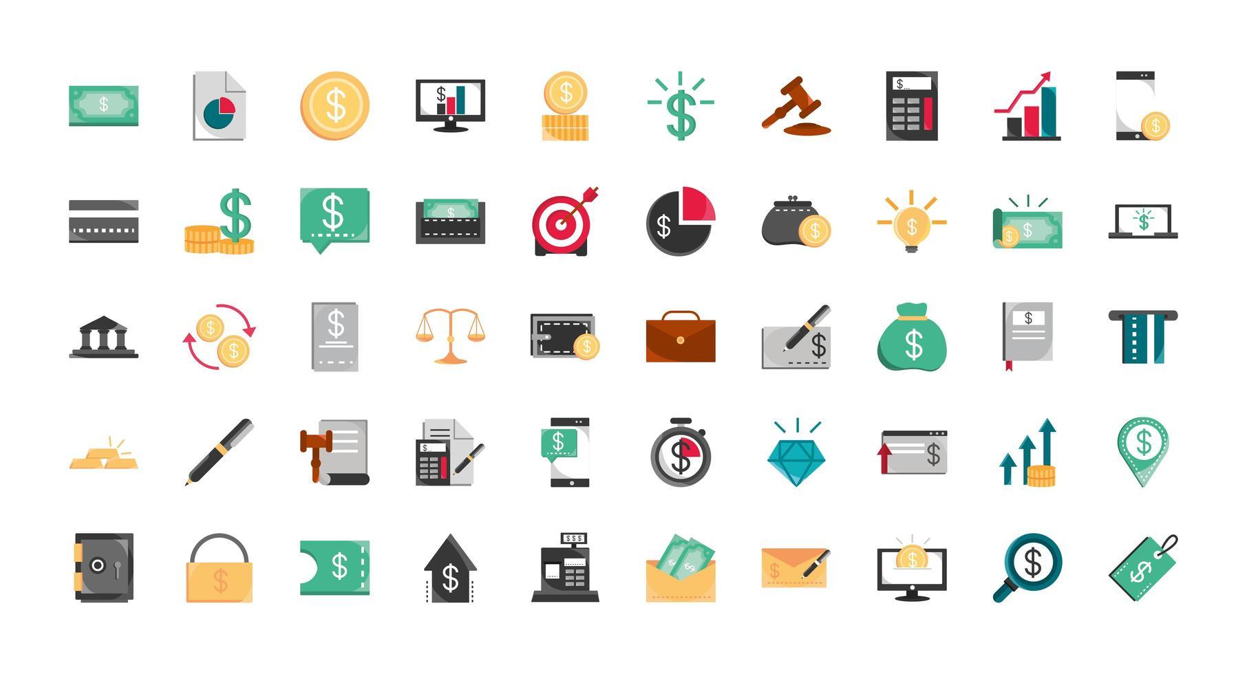 jeu d & # 39; icônes de finances et d & # 39; affaires vecteur