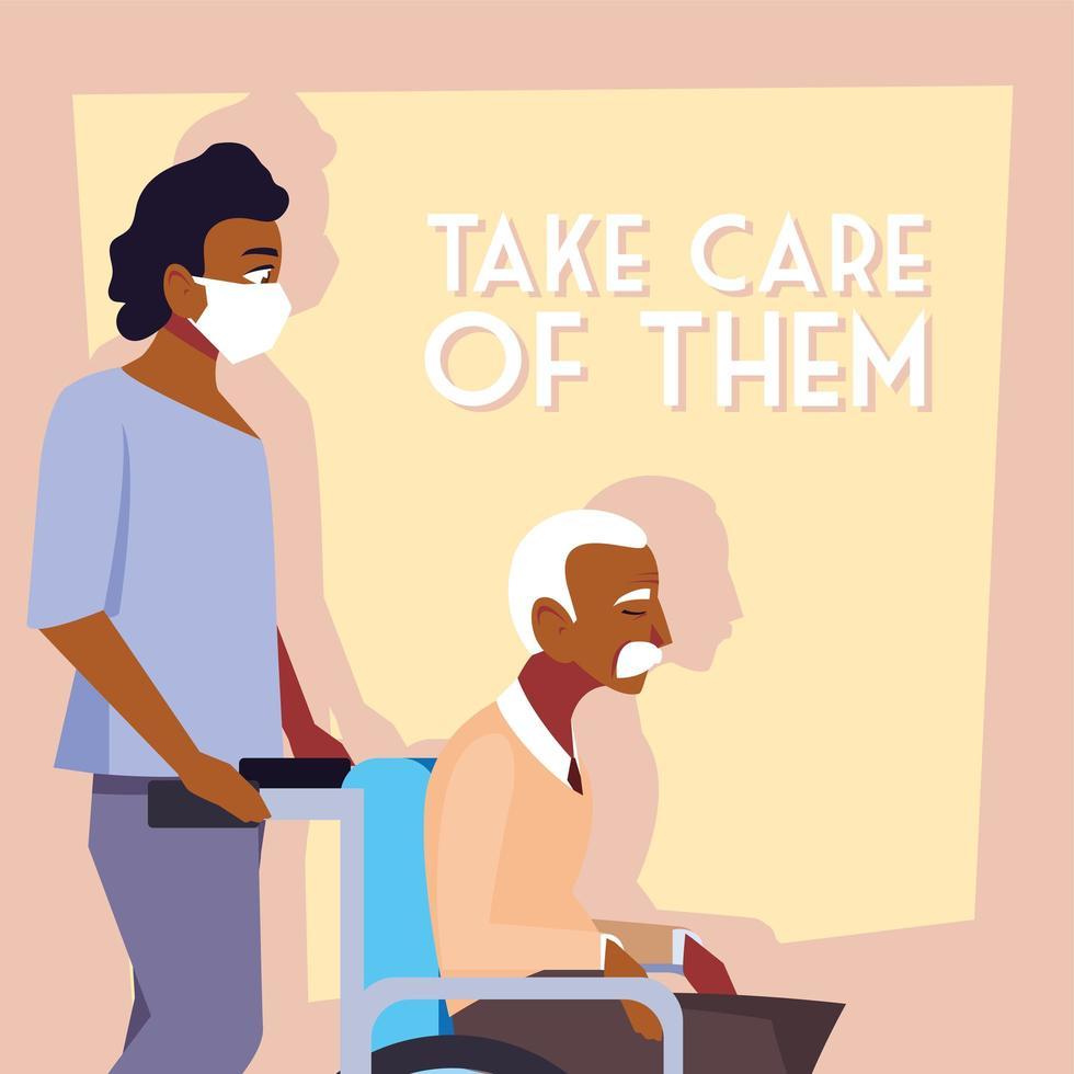 jeune homme portant un masque médical et prenant soin du vieil homme vecteur