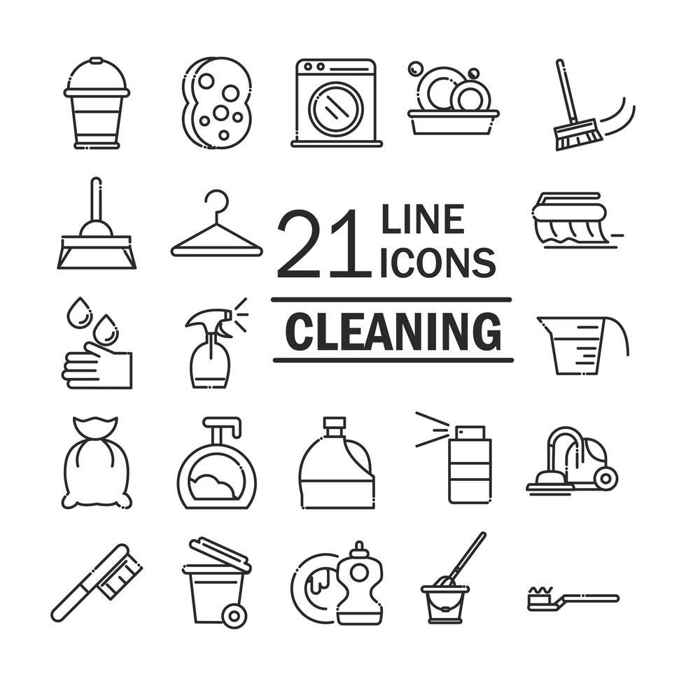 d & # 39; icônes de services d & # 39; hygiène et de nettoyage vecteur