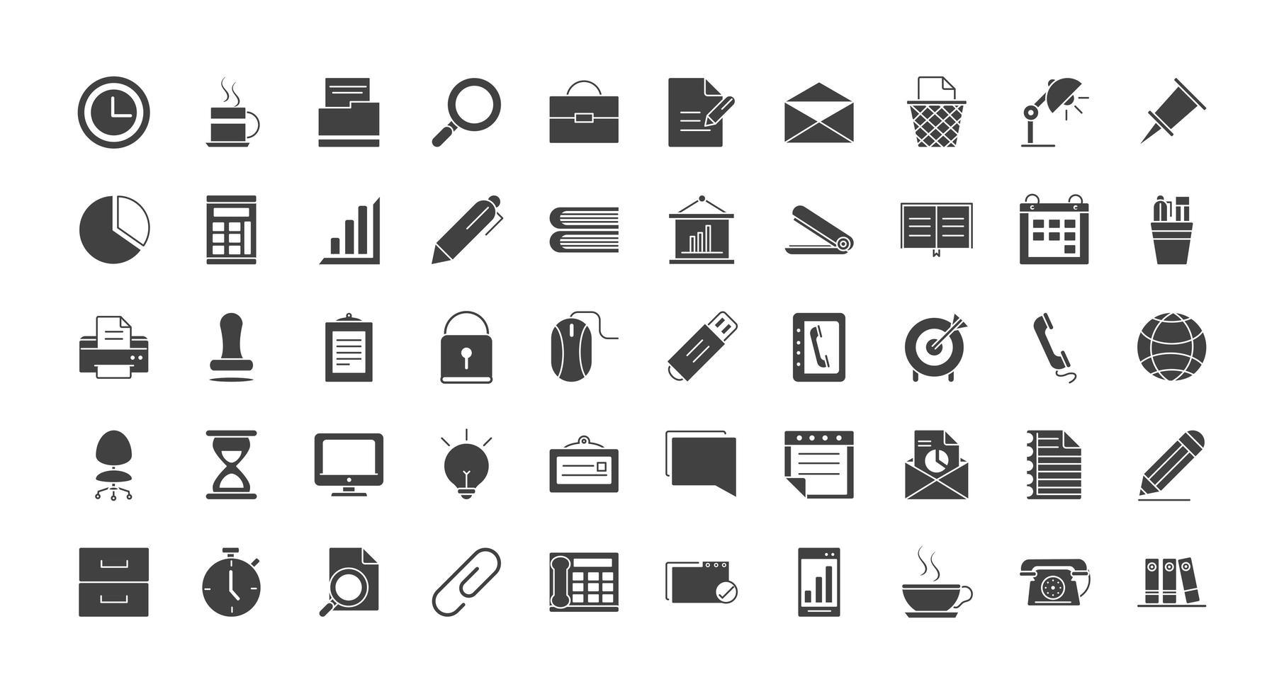 conjunto de ícones de silhueta de material de escritório e papelaria vetor