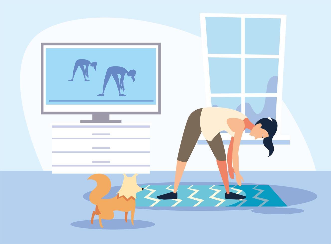 scène d & # 39; une femme faisant de l & # 39; entraînement à domicile vecteur