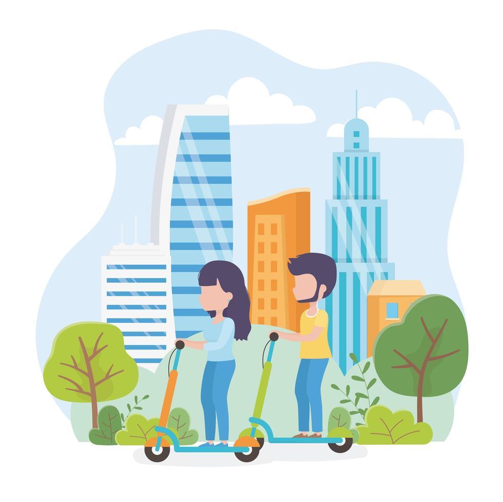 couple, équitation, scooter électrique, dehors vecteur