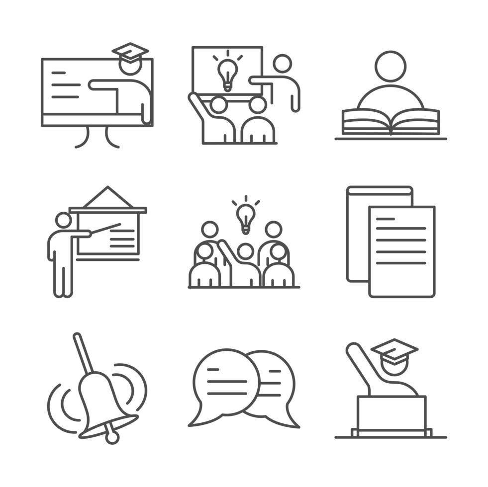 set di icone line-art scuola e istruzione vettore