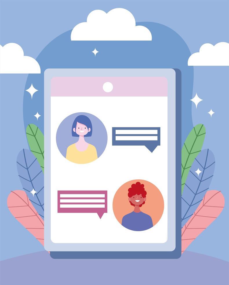 conversation de discussion en ligne en quarantaine vecteur