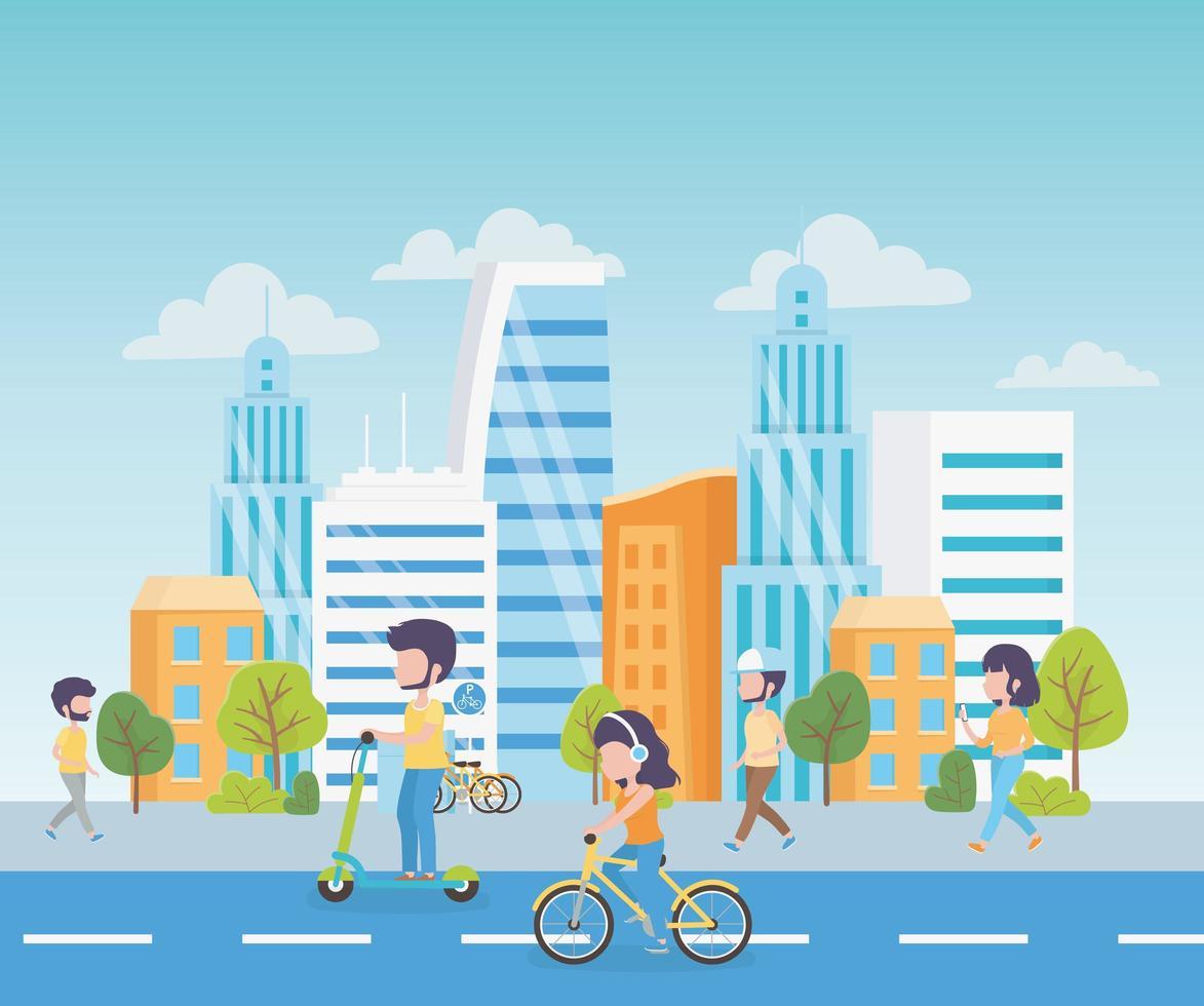 paesaggio urbano con le persone vettore