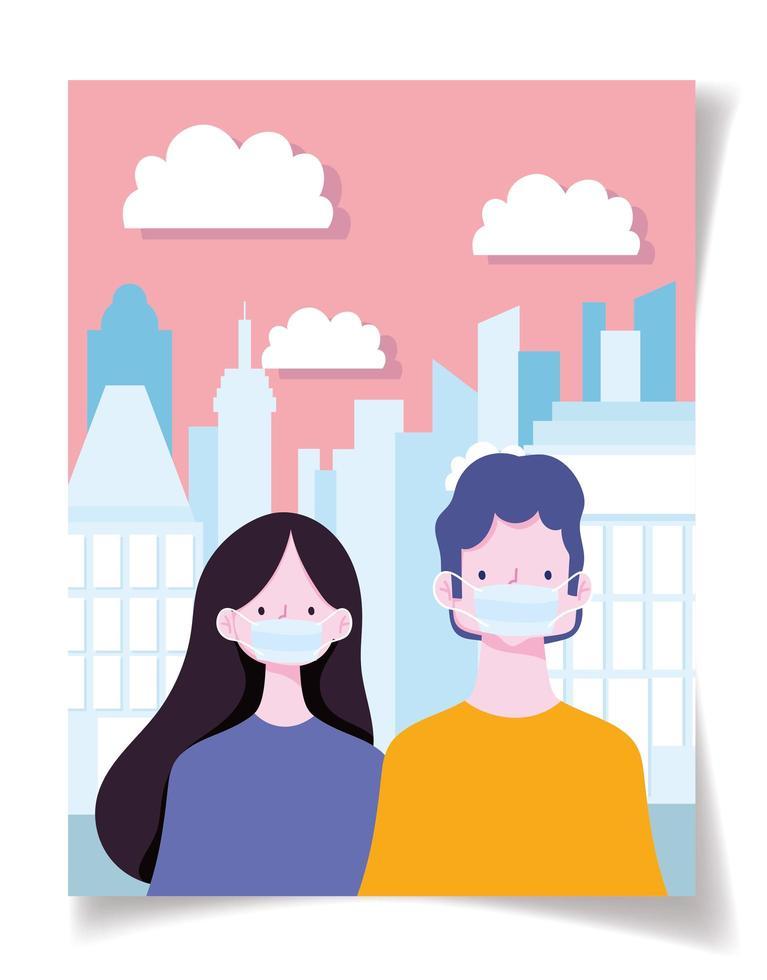 joli couple portant des masques sur un paysage urbain vecteur