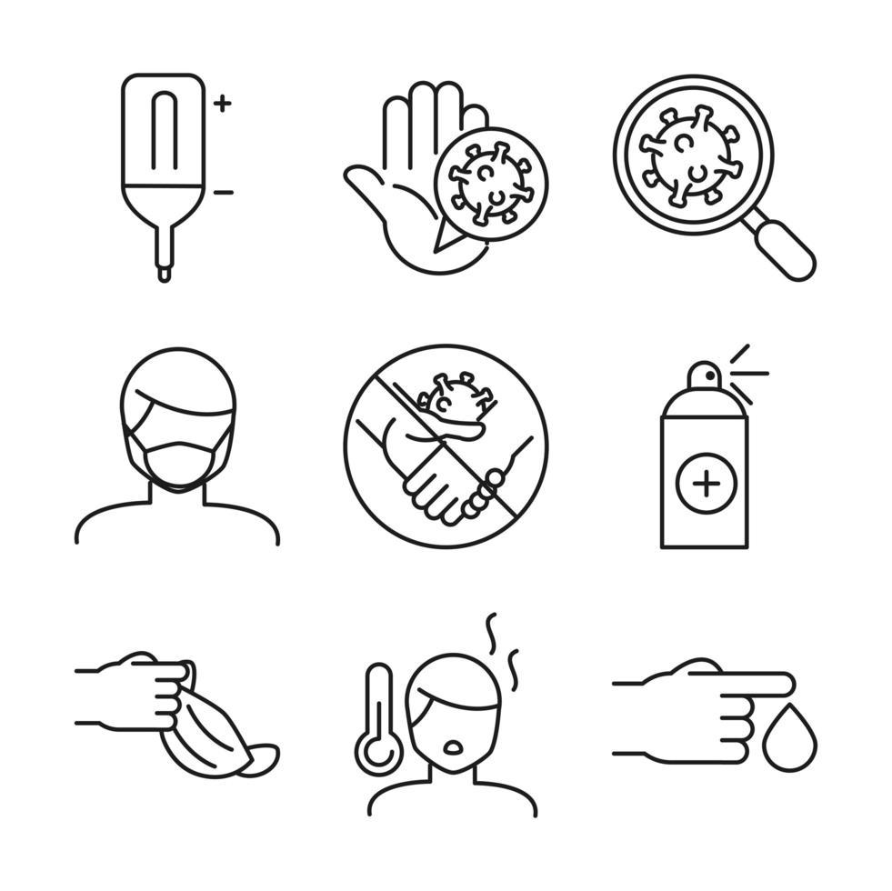 set di icone di cure mediche e covid-19 line-art vettore