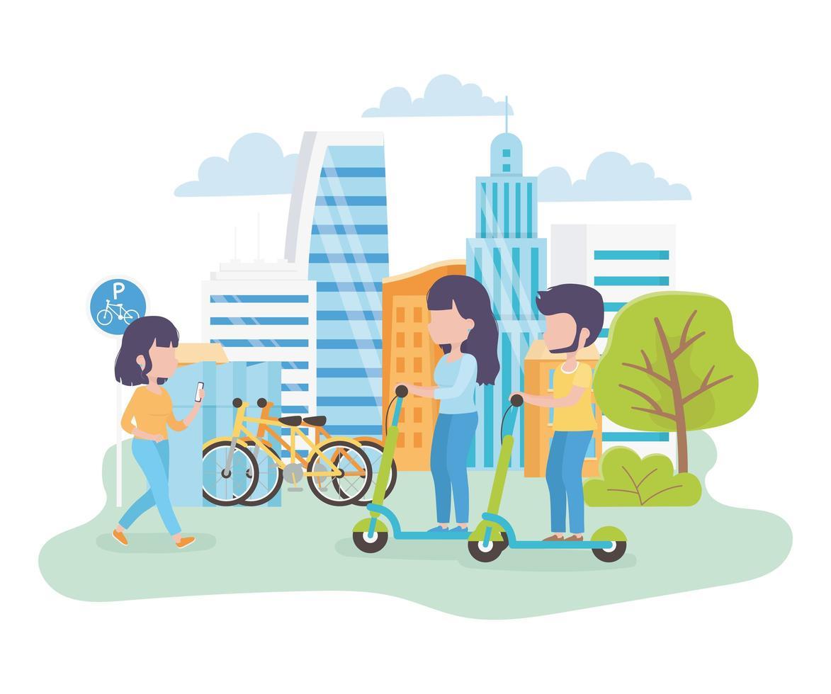 pessoas andando de scooters elétricas e caminhando pela cidade vetor